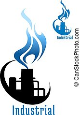 Industrial plant with blue gas flame - Industrial plant or...