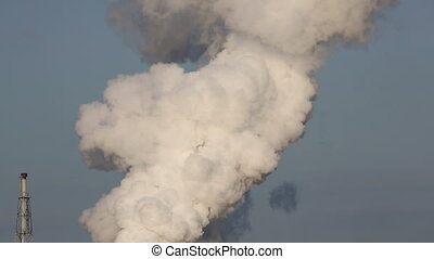 Industrial plant with smoke, air pollution