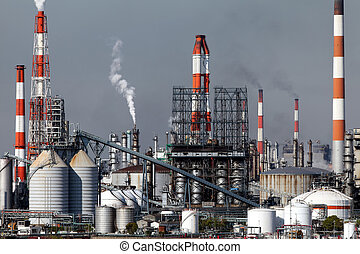 Industrial plant with smoke stacks