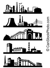 Industrial plants in perspective - vector illustration