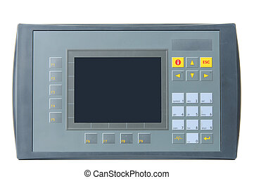Grey industrial PLC with built-in operator panel used for process control with buttons and touchscreen isolated on white background.