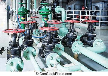 Industrial, poder, dentro, equipamento, tubagem, encontrado, cabos
