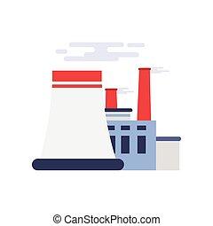 industrial, poder, fábrica, ilustração, vetorial, predios, planta