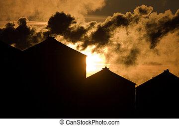 Industrial Pollution Canada Saskatchewan smoke billowing environment