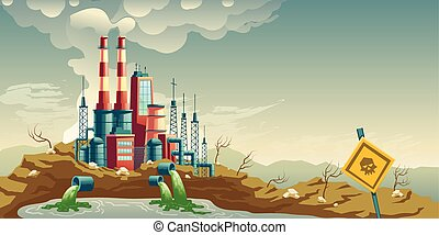 Industrial pollution of environment cartoon vector