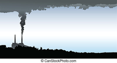 Industrial Pollution - Skyline silhouette of an industrial...