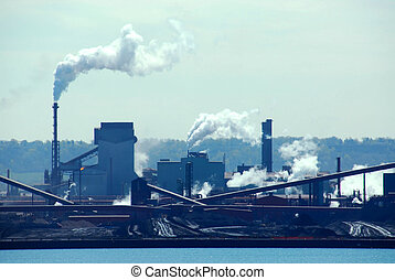 Steel mill industrial pollution