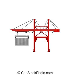 Industrial port and cargo harbor crane vector Illustration on a white background