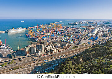 Industrial Port of Barcelona as seen from Montjuic mount, Spain