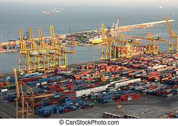 Industrial port of Barcelona - View of the industrial port...