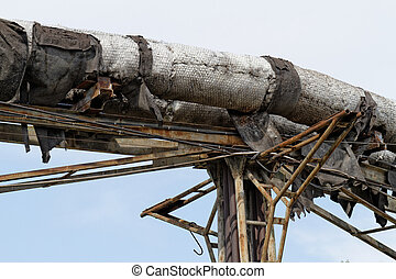 Industrial posts - Photo of an old industrial area an a...