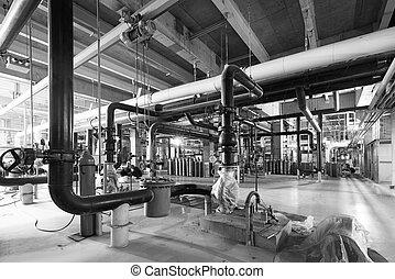 industrial, potencia, dentro, equipo, tubería, fundar,  cables