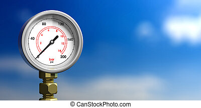 Industrial pressure gauge on blur blue sky background, front view, copy space. 3d illustration