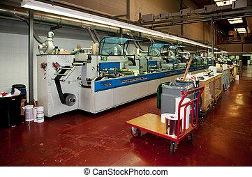 industrial, printshop:, flexo, imprensa, imprimindo
