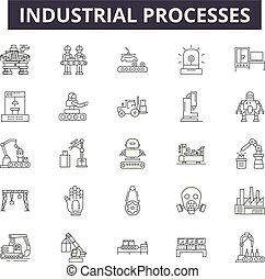 Industrial processes line icons, signs set, vector. Industrial processes outline concept, illustration: industry, process, engineering, industrial, degear, machine