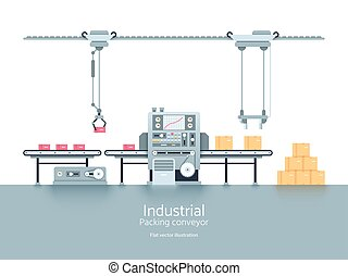 Industrial production factory conveyor flat vector illustration