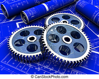 Industrial project of three gears over a new project