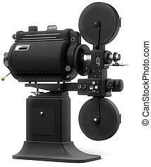 industrial, proyector película, blanco