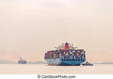 industrial, puerto, nave de envase