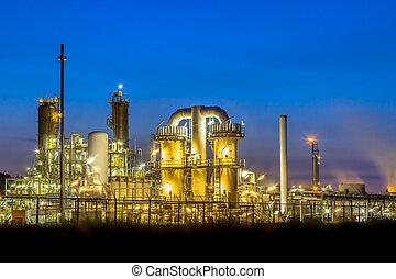industrial, químico, fábrica, escena noche