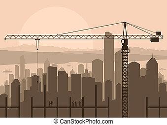industrial, rascacielos, ciudad, y, interpretación el sitio, grúa, con, edificio, ingenieros, en, paisaje, contorno, plano de fondo, ilustración, vector