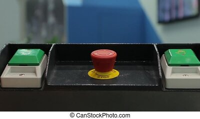 Industrial Red Button - Industrial red button on the control...
