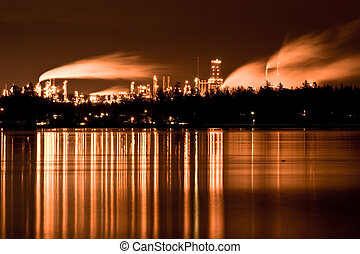 Industrial refinery - An industrial time exposed shot of a...