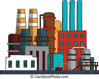 Industrial refinery factory buildings set