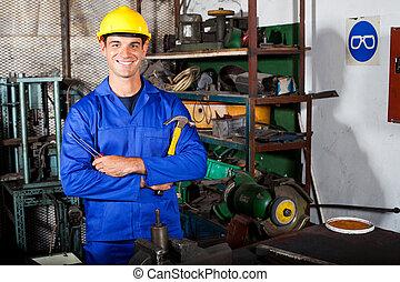 industrial repairman in workshop