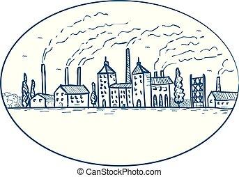 industrial, revolução, desenho, paisagem