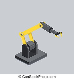 Industrial robot arm isometric vector illustration