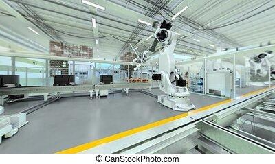 Industrial Robot Factory - 3D Animation - Flat Version, V1 -...
