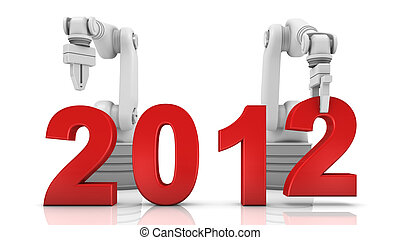 Industrial robotic arm building 2012 year on white...
