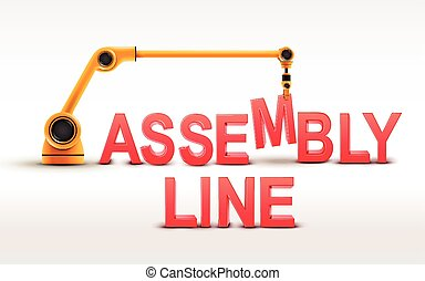 industrial robotic arm building ASSEMBLY LINE word on white...