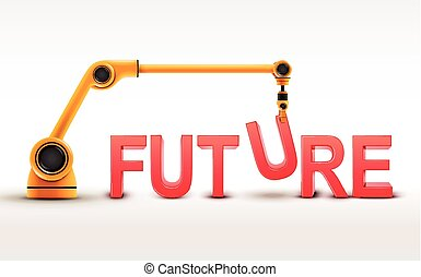 industrial robotic arm building FUTURE word on white background