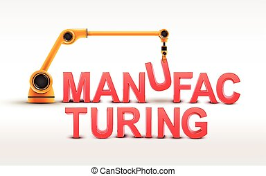 industrial robotic arm building MANUFACTURING word