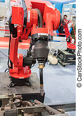 Industrial robotic arm for welding.