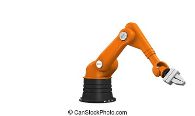 Industrial robotic arm isolated on white background with alpha channel (looping video)