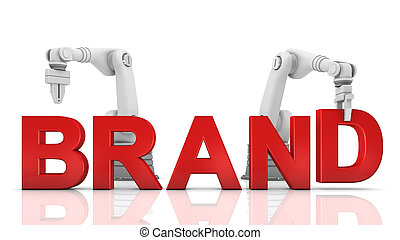 Industrial robotic arms building brand word