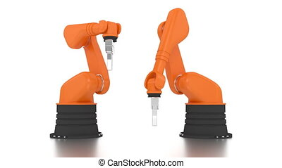 Industrial robotic arms building DONE word