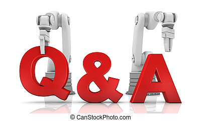 Industrial robotic arms building Q&A word on white ...