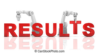 Industrial robotic arms building RESULTS word
