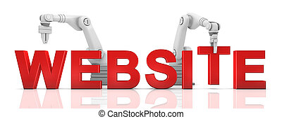 Industrial robotic arms building WEBSITE word on white background