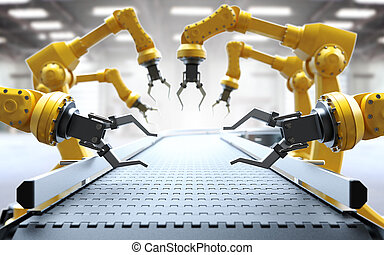 Industrial robotic arms with empty conveyor belt 3D ...