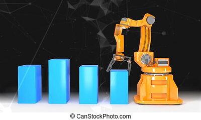 Industrial robotic arms with empty conveyor belt 3D...