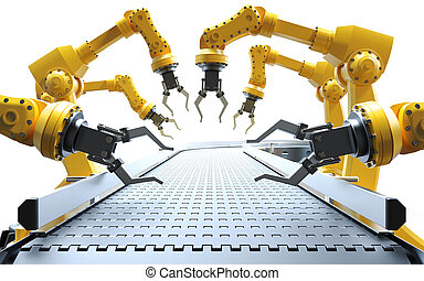 Industrial robotic arms with empty conveyor on white...