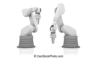 Industrial robotic arms building PLAN word isolated on white background