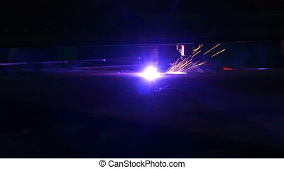 Industrial Robotic Plasma Laser Cutter Cuts Metal Parts with Great Precision