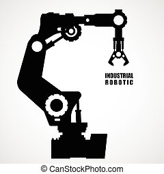 Industrial robotics - production line machinery silhouette