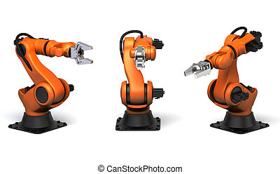 Industrial robots - Very high resolution 3d rendering of...
